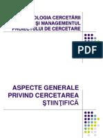 Aspecte Generale Privind Cercetarea Stiintifica