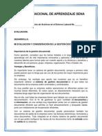 Evaluacion y Consideración de La Gestión Documental