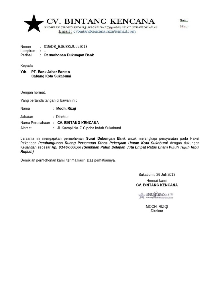 Permohonan Surat Keterangan Bank
