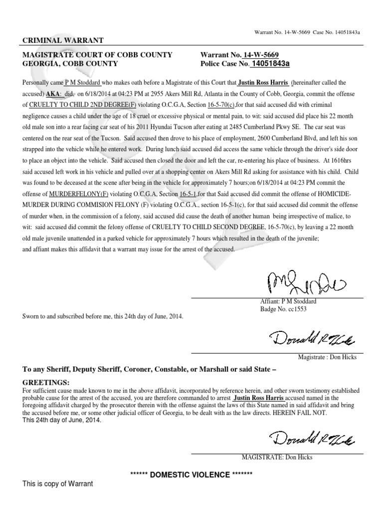 Justin Ross Harris warrant | Arrest Warrant | Affidavit