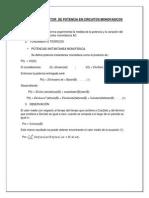 Potencia y Factor de Potencia en Circuitos Monofasicos