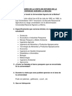 Cuestionario de La Visita de Estudio de La Universidad Agraria La Molina