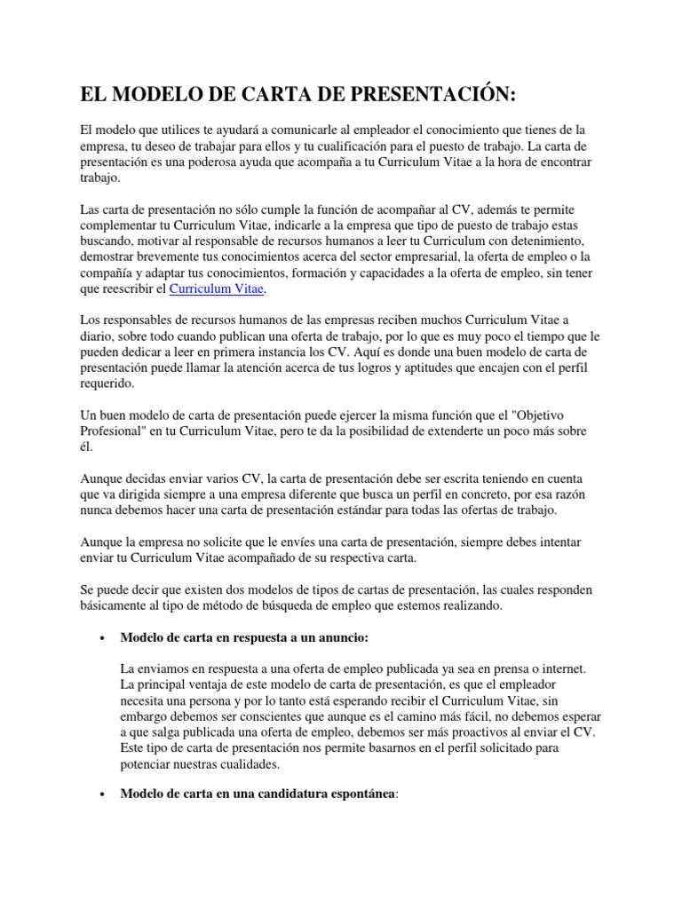 cartas de presentacion modelos - Pertamini.co