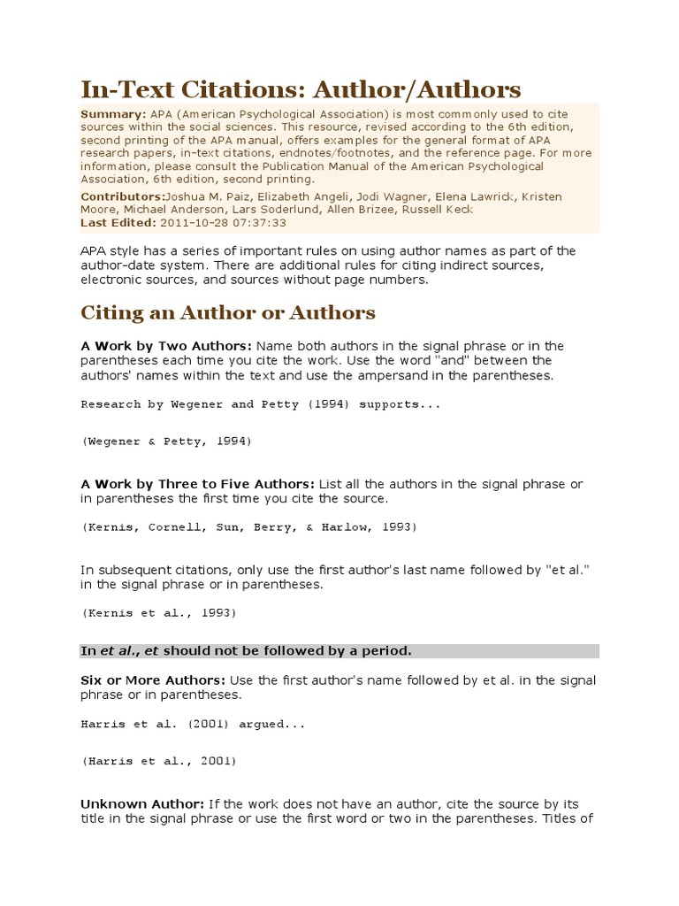 In Text Citation Citation Bracket