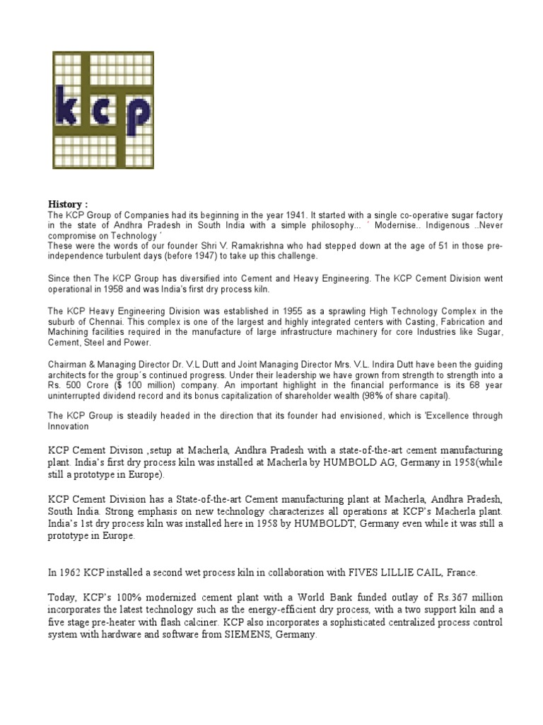 The KCP Group of Companies Had Its Beginning in The | Cement