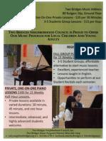 Two Bridges Music Fall Program Flyer