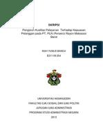 Pengaruh Kualitas Pelayanan Terhadap Kepuasan Pelanggan Pada Pt Pln Persero Rayon Makassar Barat