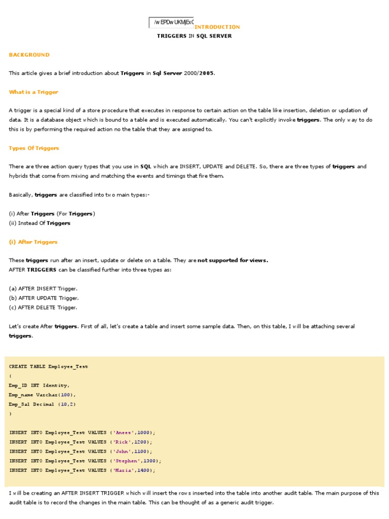 Triggers  PDF  Database Index  Microsoft Sql Server