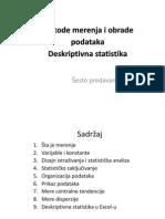 Metode merenja i obrade podataka - Deskriptivna statistika