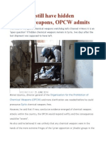 Syria May Still Have Hidden Chemical Weapons, OPCW Admits