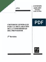 2439-1997 Criterios Generales Para La Declaracion de La Conformidad Del Proveedor