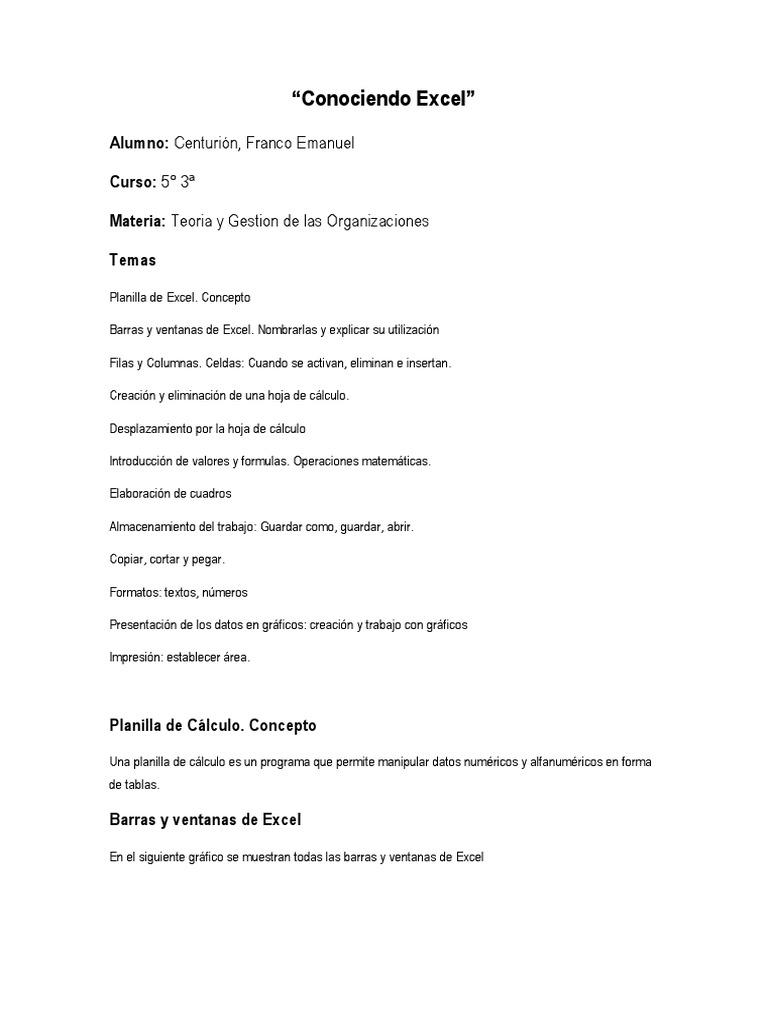Informe \'Conociendo Excel\' - Franco Centurion - 5° 3a