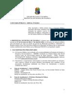 Edital Final Palhoca 2014