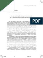 Interpretacion y Fe Hermeneutica Teologica de Paul Ricoeur