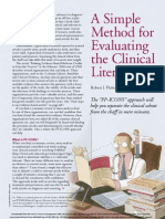 A Simple Method of Evaluating Medical Literature