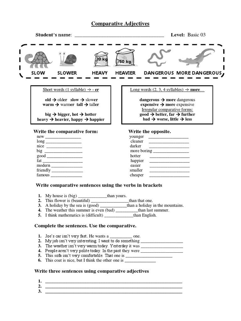 Comparative Adjectives Worksheet Doc Adriaticatoursrl