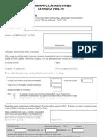 Course Proposal 2009-10