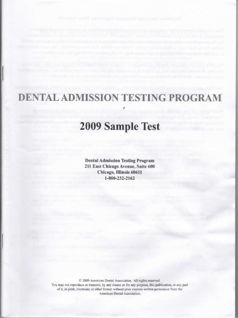 2009 dat practice test Dat Sample Test 2009