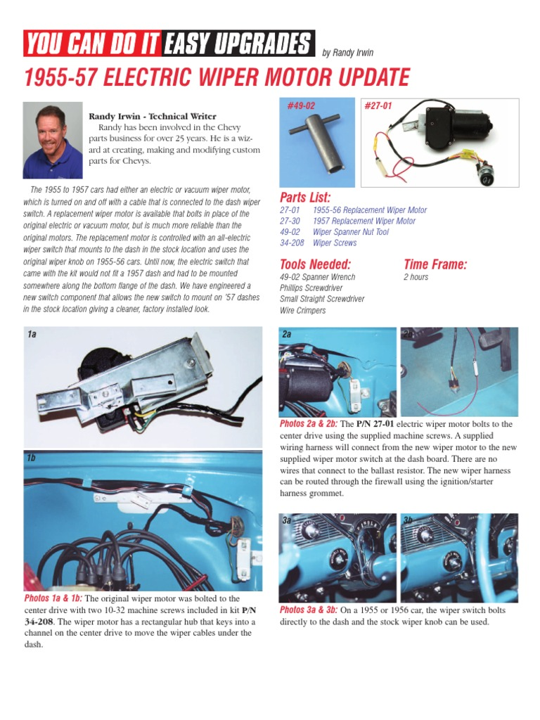 1955 57 Electric Wiper Motor Update Screw Manufactured Goods Creating A Wire Harness