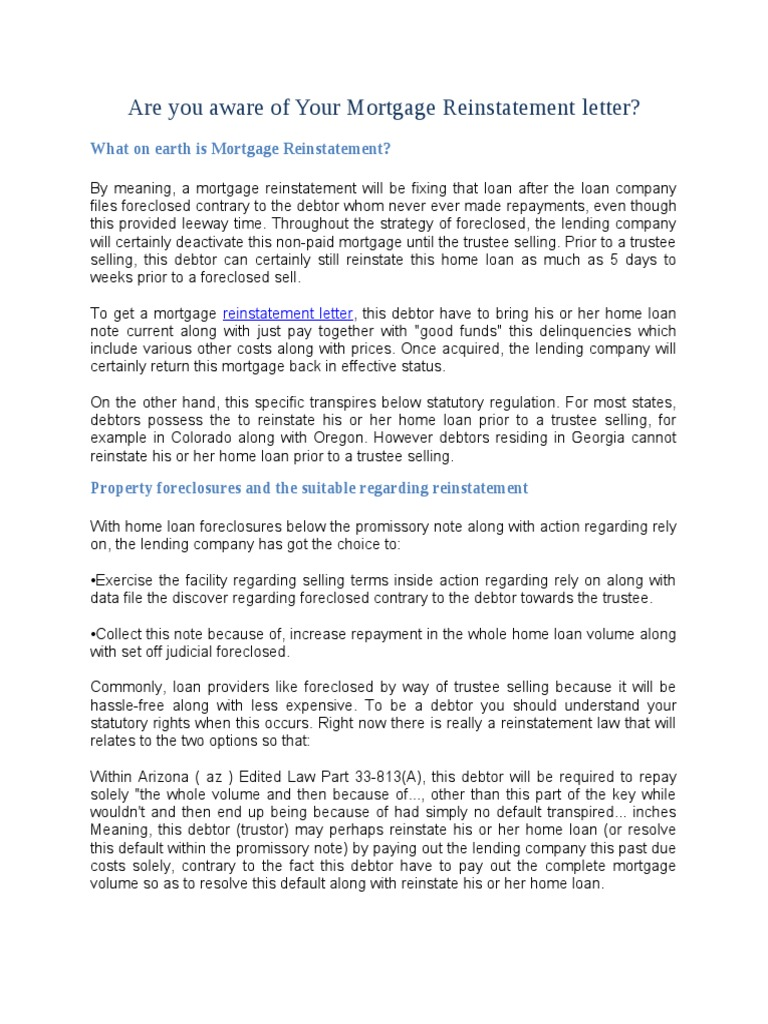 Are you aware of your mortgage reinstatement letter foreclosure are you aware of your mortgage reinstatement letter foreclosure mortgage loan altavistaventures Images