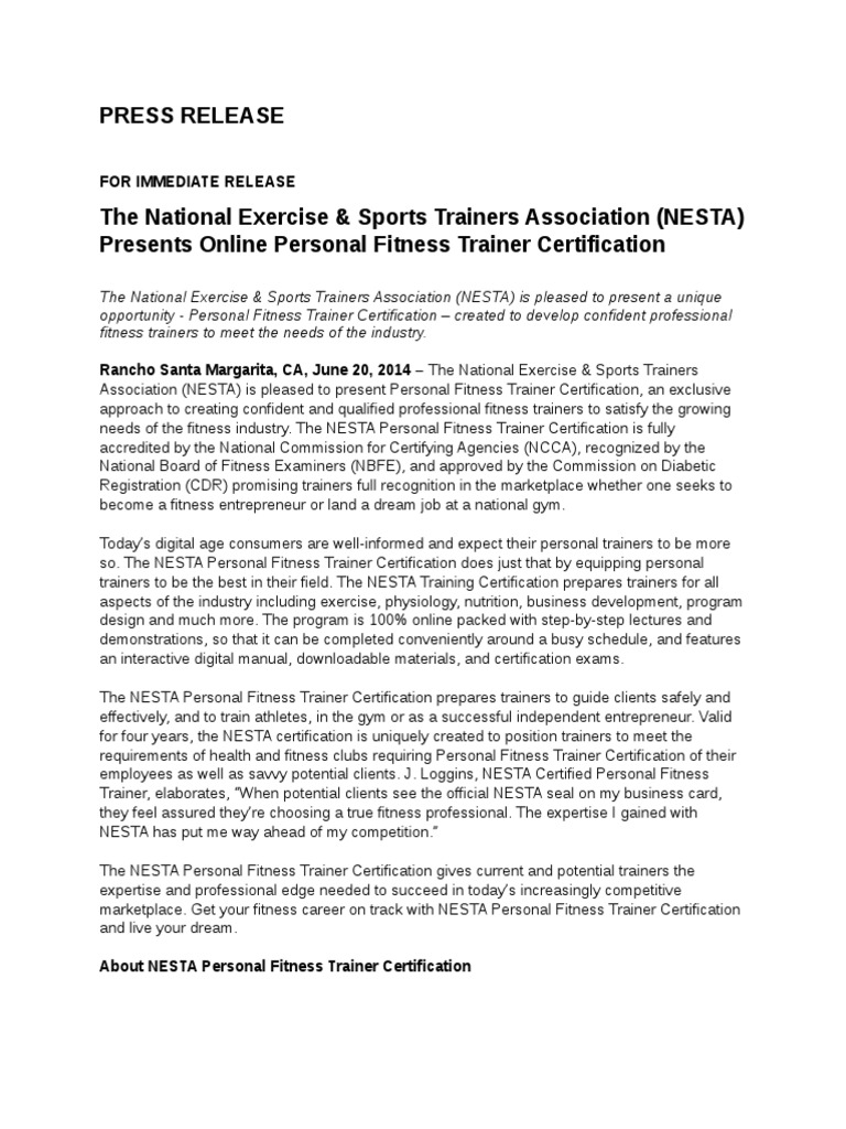 The National Exercise Sports Trainers Association Nesta Presents