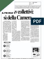 calcio diritti tv collettivi il si della Camera (Il Messaggero 24/1/2007)