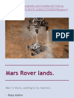 Mars Rover lands.