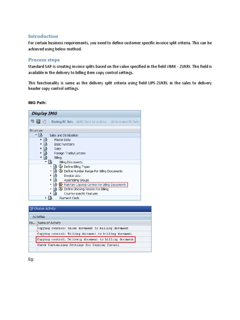 Invoice Split Logic in SAP | Invoice | Information Technology