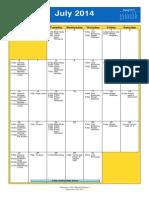 Oakmont United Methodist July 2014 Calendar