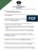 Assignment I Fluid Mechanics 1
