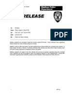 2014 MPD Press Release Thefts From Motor Vehicles - 2