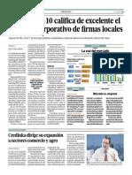 1 de Cada 10 Califica de Excelente Gobierno Corporativo de Firmas Locales_El Comercio 26-05-2014