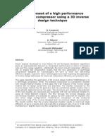 10 Development of a High Performance Centrifugal Compressor Using a 3D Inverse Design Technique