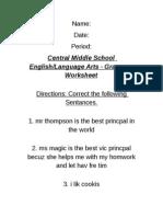 Grammar Worksheet - ELA