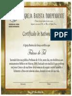 Certificado de Batismo - Modelo 1