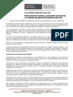 MINISTRO DEL INTERIOR ANUNCIÓ PATRULLAJE DIARIO DE DOS MIL EFECTIVOS DE LA UNIDAD DE SERVICIOS ESPECIALES PNP