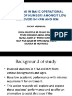 PROBLEMS IN BASIC OPERATIONAL CONCEPT OF NUMBERS AMONGST LOW ACHIEVERS IN KPM AND IKM