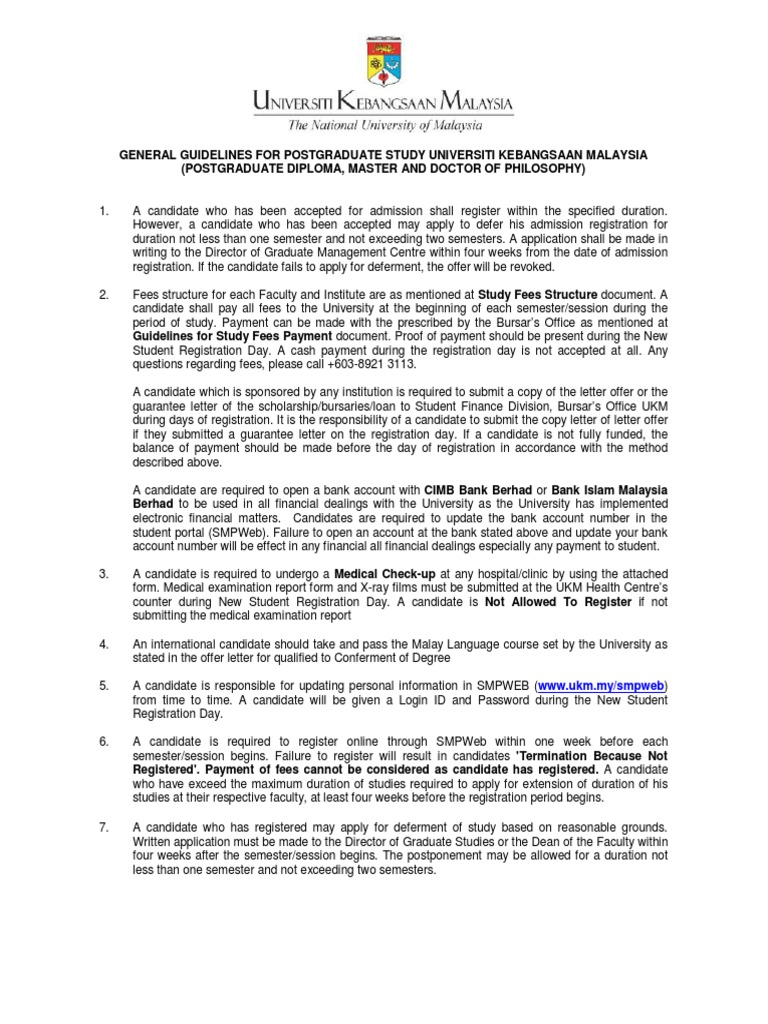 01 general guidelines for postgraduate study of ukm postgraduate 01 general guidelines for postgraduate study of ukm postgraduate education university and college admission altavistaventures Image collections