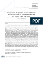 Comparison of Sprinkler Trickle and Furrow Irrigation Efficien