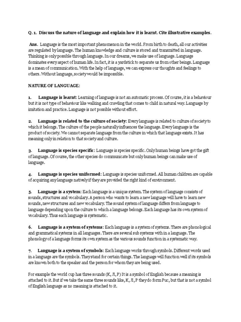 Nature Of Language Symbols Subject Grammar - World no 1 language