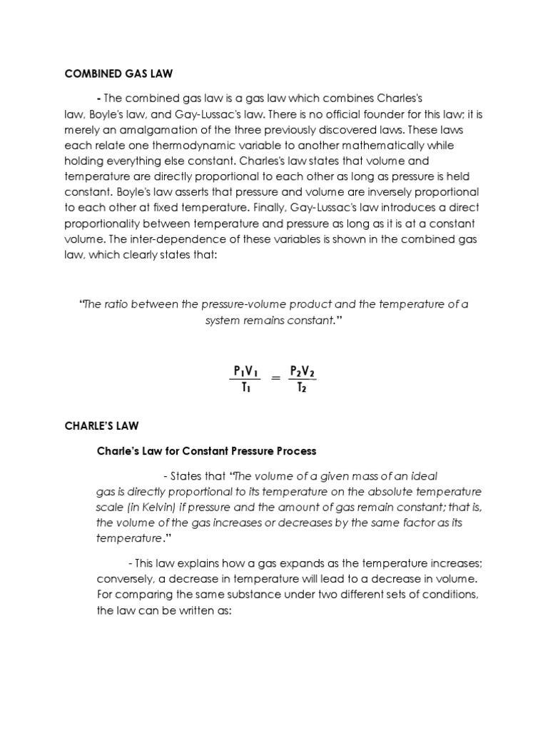 Thermodynamics Combined Gas Law | Gases | Temperature
