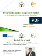 Progress Report of the project INARM  in the Moscow State University for the Humanities