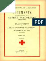 Rapport de MM. Dr A. von Schulthess et F. Thormeyer sur leur visite aux camps de prisonniers de guerre russes en Allemagne