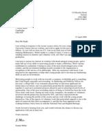 Covering Letter 2 Voluntary Organisation