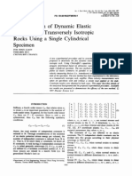 Determination of Dynamic Elastic Constants of Transversely Isotropic Rock Using a Single Cyclindrical Sample