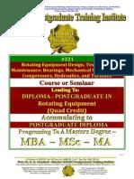 Rotating Equipment Design Testing and Maintenance Bearings Mechanical Seals Pumps Compressors Hydraulics Turbines Quad Credit Course
