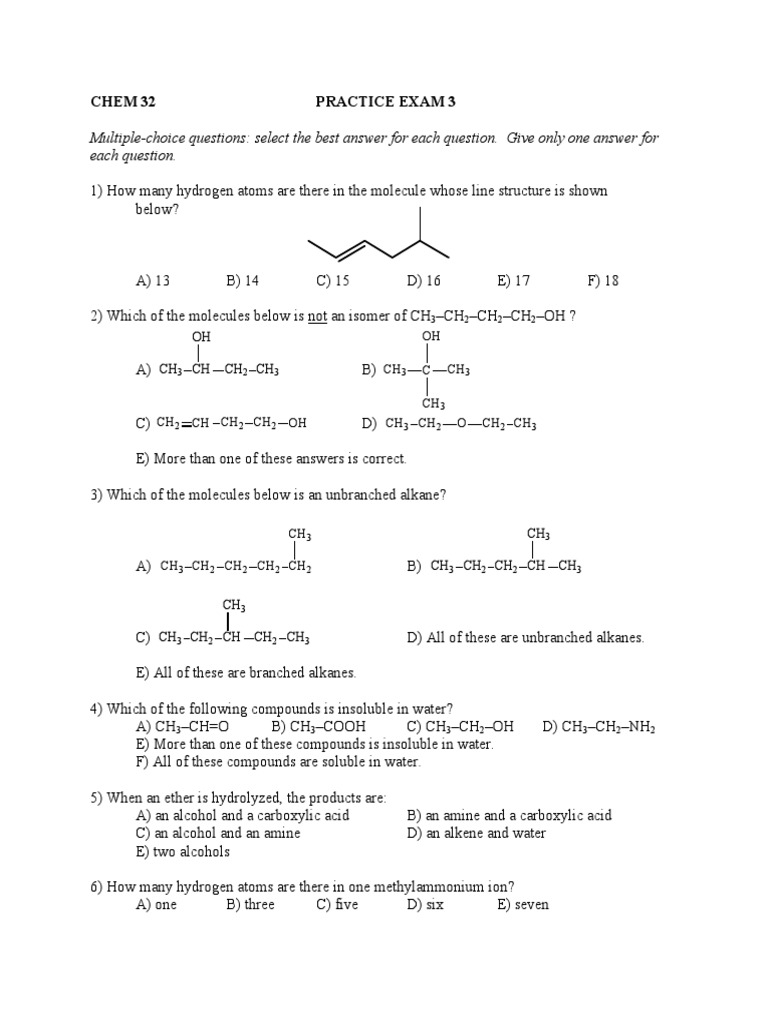 mcqs chemistry sample practice | Alkane | Carboxylic Acid