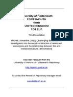 Challenging Behaviour. MSc Dissertation