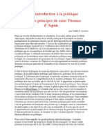 Petite Introduction à La Politique Selon Les Principes de Saint Thomas d'Aquin