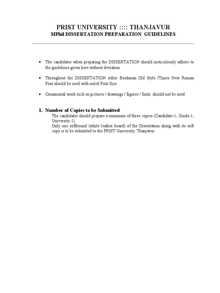 prist university m phil dissertation format